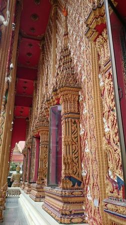 art: Art wall Temple at WatPaiLom Thailand Stock Photo