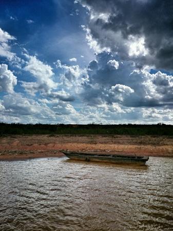 tonle sap: Alone boat at tonle sap Cambodia