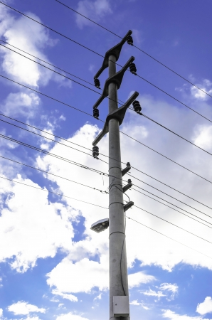 high voltage post High-voltage tower sky background  photo