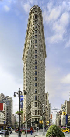 NEW YORK, NY, USA - 30.10.2013: Flat Iron building, built in 1902 is of the first skyscrapers ever built, taken on October 30, 2013 in New York City, United States.