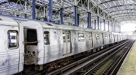 coney: Departing subway train in the solar powered subway station at Coney Island - Brooklyn, NY