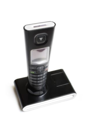 Black DECT telephone isolated on white background photo