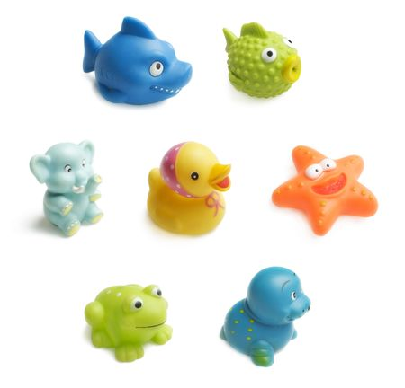 Seven colorful bath toys for child isolated on white background. Each toy has high resolution.
