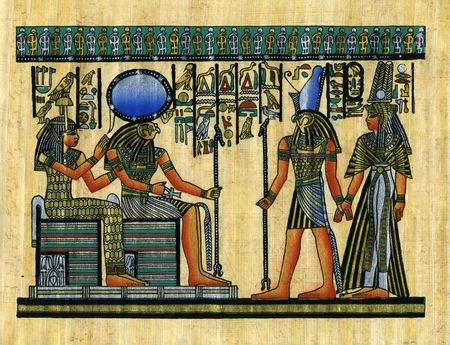 Modern handmade banana papyrus. It shows  the meeting of gods on earth (pharaoh and his wife) with gods on the sky. Stock Photo