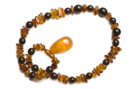 isoalated: Amber necklace view from the top isoalated on white