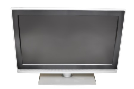 Black plasma TV with blank screen. Upper point of view. Isolated on white background. Stock Photo - 7150635