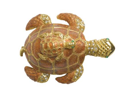Decorative mother turtle and son on her back. Upper view. Isolated on white background Stock Photo - 7244562