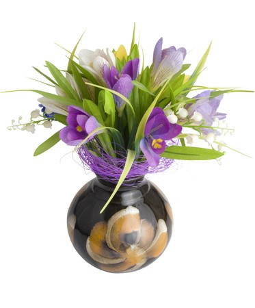 Artificial flowers in vase. Isolated on white background