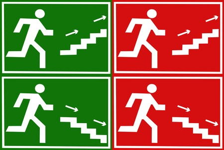 Evacuation sign showing the escape direction in green and red colors Stock Photo - 7282601