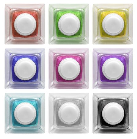 Real glass button collection  with colorful and blank space for text. Isolated on white background photo