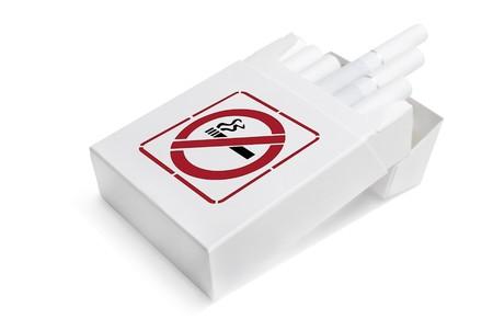 Opened pack of white cigarettes isolated on white background photo