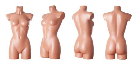 Different views on female dummy body isolated in studio