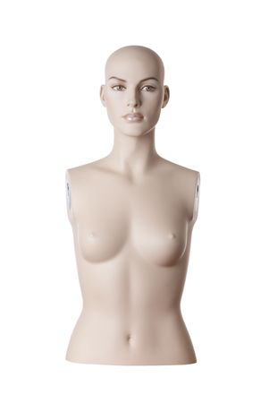 Plastic female detailed dummy torso and head. Isolated on white background
