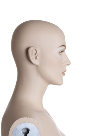 Side view at the head of the female dummy isolated on white background