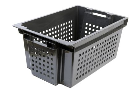 plactic: Black plactic container with square holes isolated on white background Stock Photo