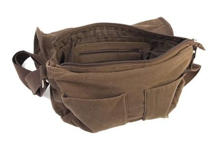 opened bag: Opened textile female bag isolated on white background Stock Photo