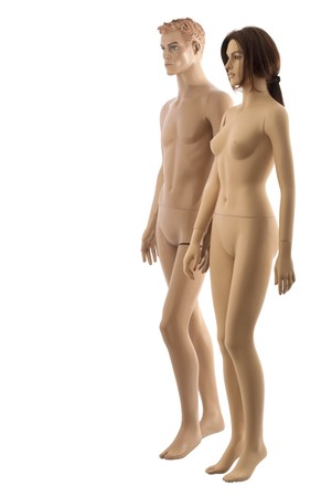 fashion doll: Male and female mannequins walking together. Isolated on white background Stock Photo