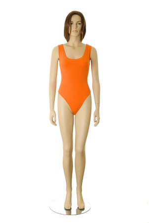 Female mannequin in orange swimsuit. Isolated on white background Stock Photo - 7716349
