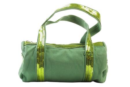 Green textile female handbag. Isolated on white background Stock Photo