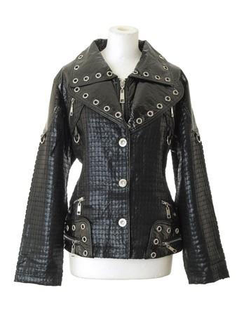 Female black fashionable jacket. Isolated on white background