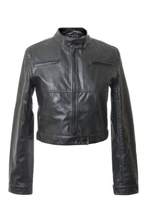 Black and short female leather jacket. Isolated on white background