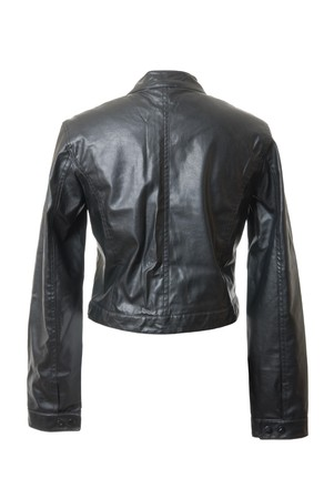 Black and short female leather jacket. Rear view. Isolated on white background