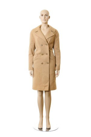Female mannequin in wool long coat. Isolated on white background Stock Photo