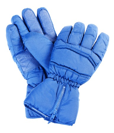 Blue polyester gloves for winter kinds of sport. Isolated on white background Standard-Bild