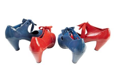 High heeled female leather shoes. Isolated on white background Stock Photo - 8038751