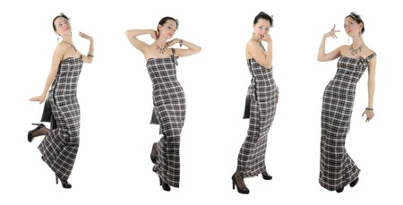 Skinny young adult woman shows her handmade clothes. Isolated on white background Stock Photo - 8121346