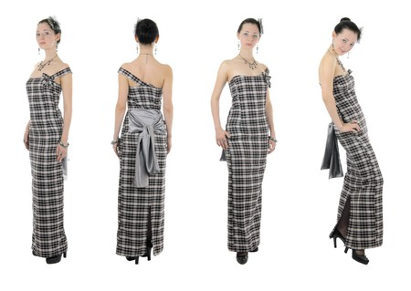 long shots: Skinny young adult woman shows her handmade clothes. Isolated on white background