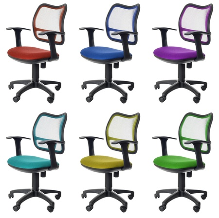 Colorfull collection of six office chairs with wheels. Isolated on white background photo