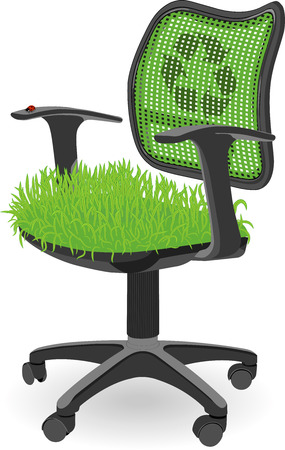 working place: Green office chair with grass at the seat and ladybug insect used as a metaphor of the ecology protection and ECO working place for everyone. Used blends and meshes. Eps 10 Illustration