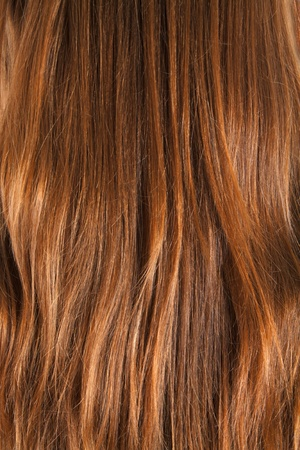 Close-up to long brown female hairs.
