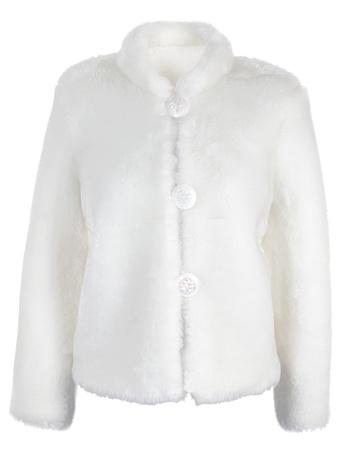 overcoat: Female artificial short overcoat. Isolated over white