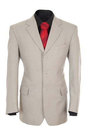Empty light office jacket for manager. Also black shirt and red necktie. Isolated over white