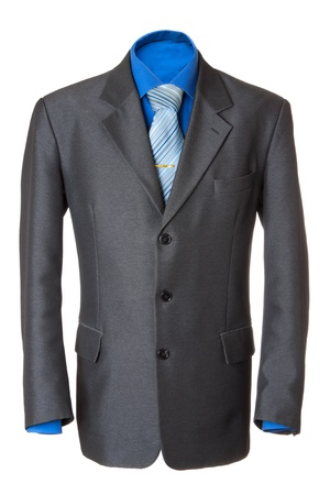 Empty grey office wearing for manager. Also blue shirt, necktie and golden clip. Isolated over white Stock Photo - 8589221