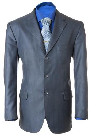 Empty blue office wearing for manager. Also blue shirt, necktie and golden clip. Isolated over white