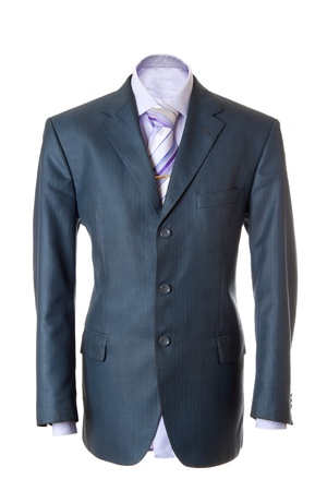 Empty blue office suit. Also lilac shirt, necktie and golden clip. Isolated over white Stock Photo - 8589211