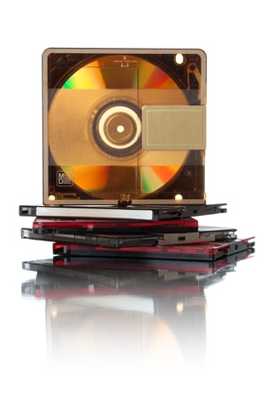 Small optical data storage for music. Isolated over white background photo