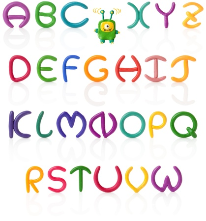 plasticine: Colorful hand made and upper case letters with real reflections. Isolated over white Stock Photo