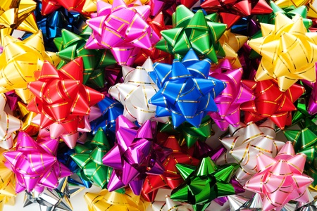 Large heap of colorful decorative bows  photo