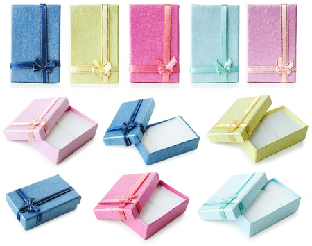 Opened and closed cardboard gift boxes for jewelry. Isolated over white background Stock Photo