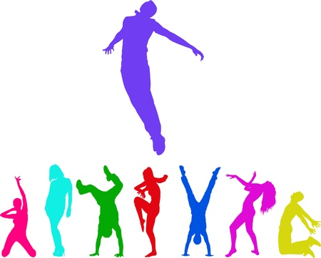 woman jump: silhouettes of the people. Colorful moments of jumping and club dancing young adults.