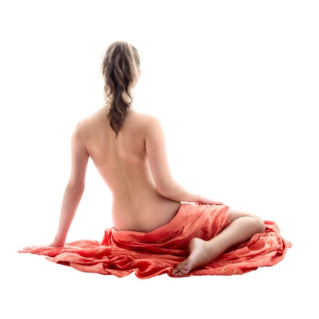 girl undressing: Back of the young woman isolated over white background