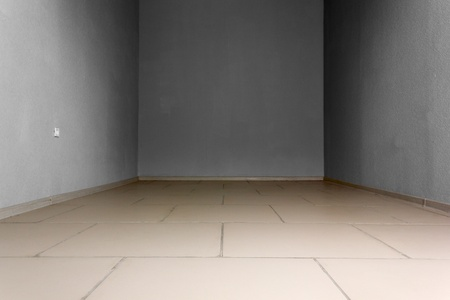 Empty room with electric socket and stone tiles at the floor. Background