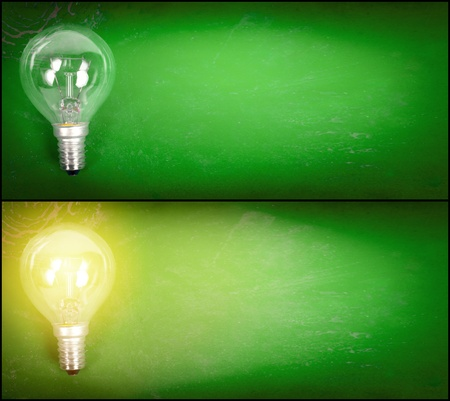 Simple turned off and on electricity lamp over grunge green background. Stock Photo - 11667311