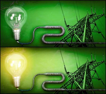 torres de alta tension: Electricidad concepto sobre fondo verde. Encender y apagar la bombilla y la torre conectada por un tubo