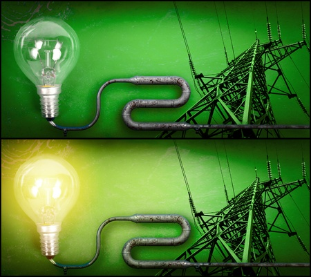 electricity background: Electricity concept over green background. Turned on and off light bulb and pylon connected by a pipe