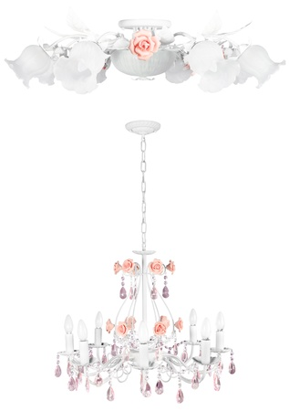 chandelier isolated: Pair of bright ceiling vintage lamps with roses. Isolated over white background Stock Photo